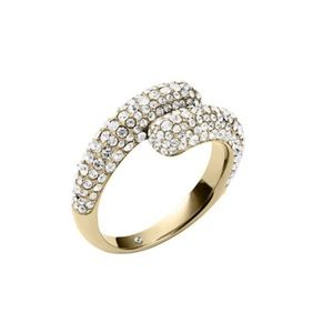 Michael Kors Gold Tone Pave Bypass Ring Size 7